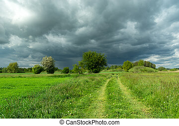 The road through a green meadow and dark rainy clouds