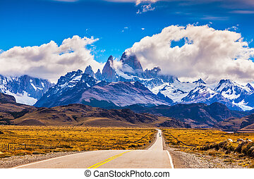 The highway crosses Patagonia - The road through desert. The...