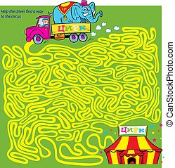 Puzzle, where it is necessary to help the driver find a way to the circus through the maze