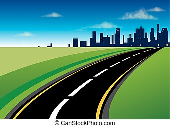 The road to the city - Curved asphalt road that leads to the...