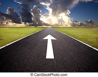 The road to the sunrise and forward mark