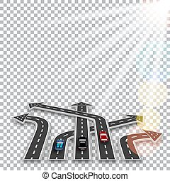 The road with a white marking, three-dimensional in perspective in the form of arrows with a shadow on the checker background. Cars. Sun rays. Abstract. illustration