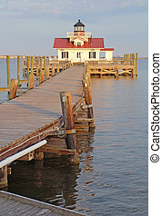 The Roanoke Marshes Lighthouse in Manteo, North Carolina vertica
