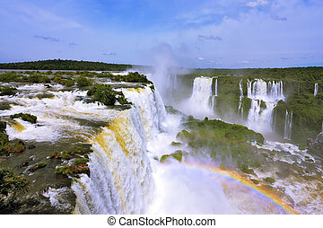 The roaring waterfalls in South America - Iguazu. Blanker...