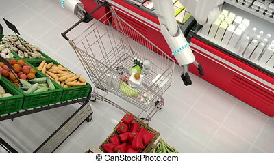 The robot makes purchases in the store and puts them in the basket. High quality 4k footage