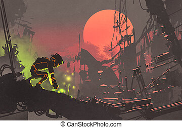 the robot planting seeds in the ruin city at sunset,...