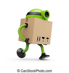 The robot postman - A robot whose body is a cardboard box,...