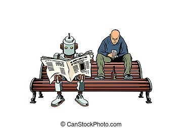 The robot reads the morning newspaper, a drunk man sits next