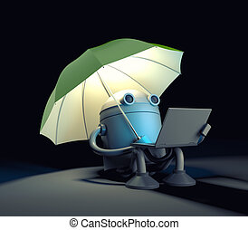 The robot sitting under umbrella and looks at the screen of the laptop.. 3d illustration