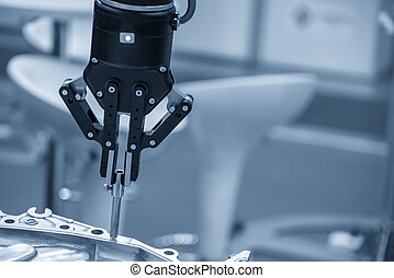 The robotic arm use in assembly production line.