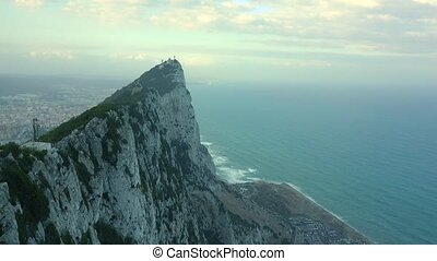 The Rock of Gibraltar and the sea below - Rock of Gibraltar...
