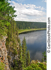 The rocks on the North of the Ural river in the national Park.