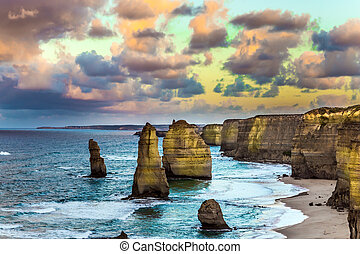 "The rocks ""Twelve Apostles"" - Pink dawn clouds over the..."