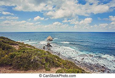 The rocky coast of the Akamas peninsula.