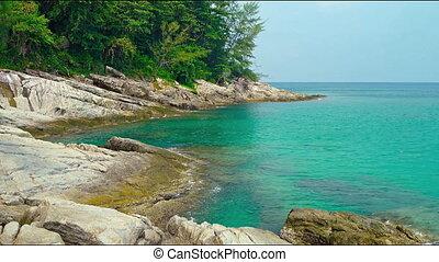 The rocky coast of the Andaman Sea. Thailand, Phuket Island....
