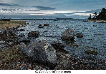 The rocky shore of the White Sea