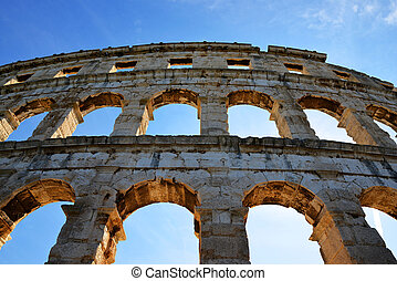 The Roman Amphitheater in Pula, Croatia.