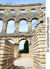 The Roman Amphitheater in Pula,Croatia.