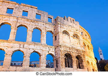 The Roman Amphitheater of Pula, Croatia.