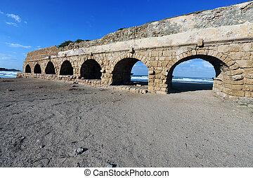 The roman aqueduct in Caesarea Israel