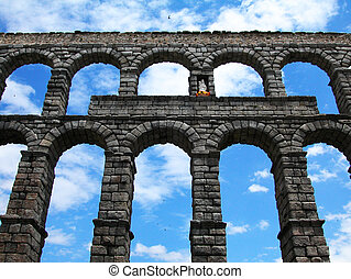 The roman aqueduct in Segovia Spain
