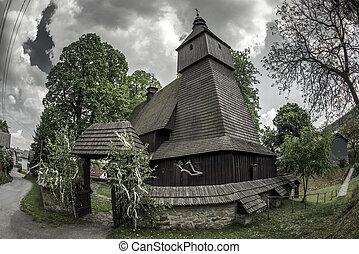 The Roman Catholic wooden church in Hervartov, Slovakia