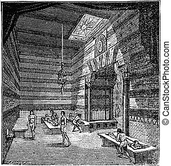 The roman period massage room vintage engraving