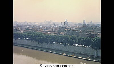 the Rome Skyline - Cityscape of Rome with Tiber river on top...