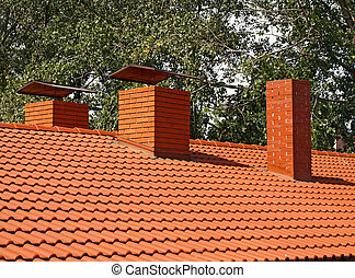 The roof is covered with orange tiles