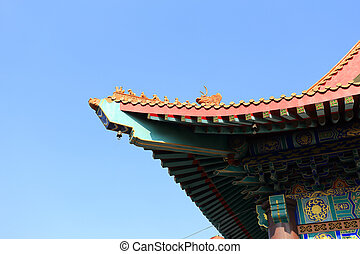The roof of Chinese temple in Thailand