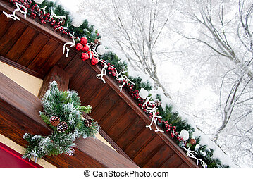 The roof of House Decorated for the Christmas