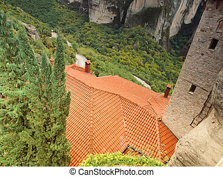 the roof of Meteora monastery. Greece