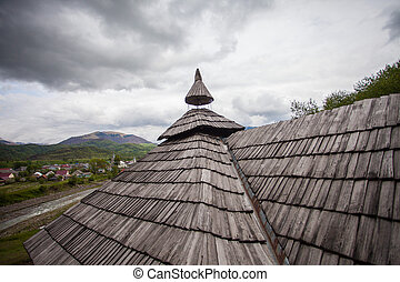 The roof of old wooden house