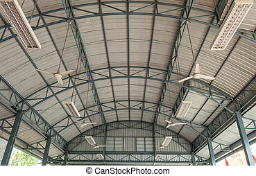 The roof of the modern building.