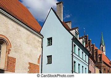 The roofs of churches and houses in the Old Town Riga