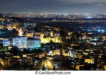 The roofs of the city, Night. Tivoli, Italy