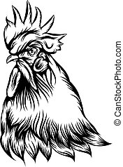 The rooster single head with black outline