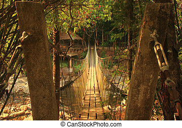 The rope bridge direct to another side of island