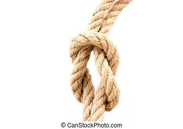 The rope with knot on a white background