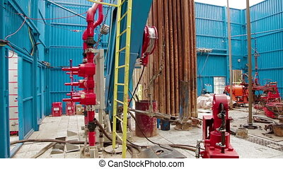 the rotary table drilling rig - Drill pipe rotating in the...
