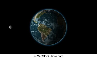 The rotation of the moon in its orbit of the earth, black BG, alpha