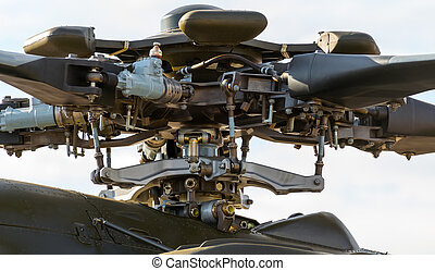The rotor mechanism of a helicopter - Close-up of the rotor...