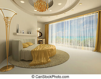 The round bed in a luxurious interior with a large window....
