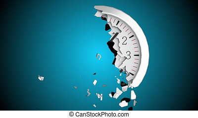 The round dial of a wall clock destructs into small...