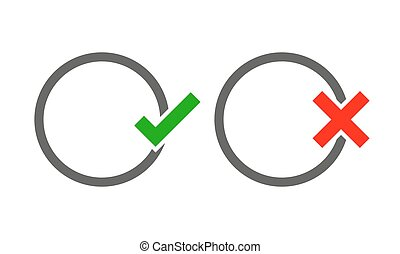 The round frames with Yes and No check marks. Vector illustration.