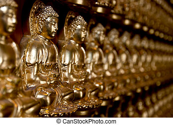 The Row of buddha status in temple