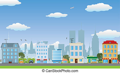 The row of houses. Street of the city. Vector illustration