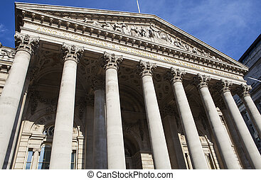 The Royal Exchange in London - The magnificent exterior of...