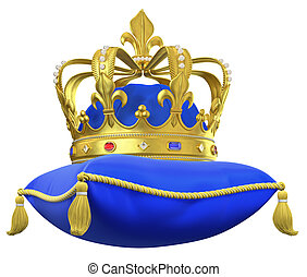 The royal pillow with crown isolated on white