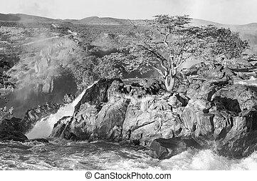 The Ruacana waterfalls, Namibia . Monochrome